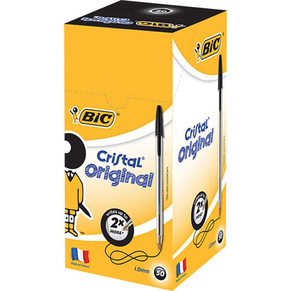 BIC B/PNT CRISTAL BLACK MEDIUM BOX 50