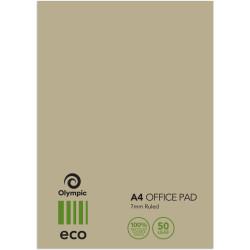 OFFICE PADS A4 ECO 75% RECYC RULED 50lf TUDOR