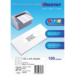 LABEL UNISTAT LIP 20UP A4 BOX 98x25mm