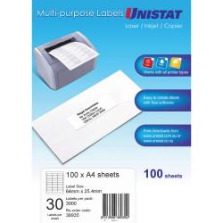 LABEL A4 30UP UNISTAT BX 100 64x25.4