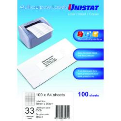 UNISTAT LABEL 33UP A4 BX100