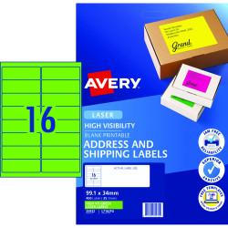 AVERY FLOURO LASER LABELS L7162FG 16 L/P/Sht 105x37mm Fluoro Green PK400